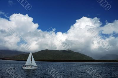 white boat travelling
