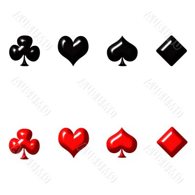 3D Playing Card Suits