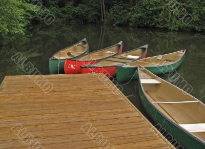 canoes at dock