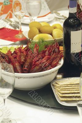 Crayfish on party-table
