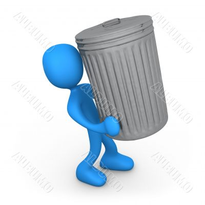 Person with trash can.