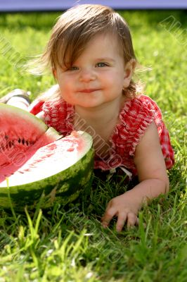 Girl eating water-melon