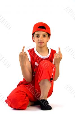 young boy holding the finger