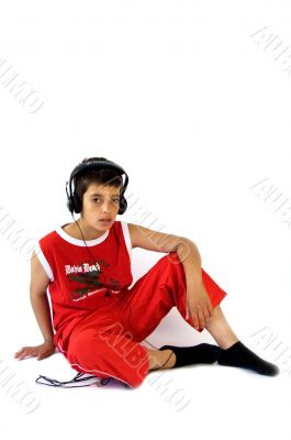 young boy wearing headset