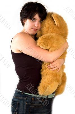 young womanl cuddling with teddybear