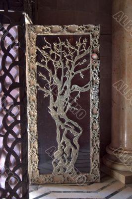 Fragment of beautifully decorated door.