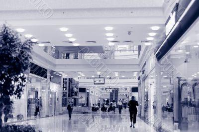 Shopping hall #2, motion blur. Tint blue