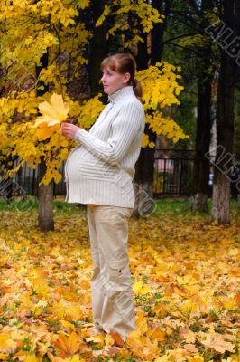 Pregnant woman in autumn park hold maple leaf #3