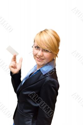 Businesswoman half turn and show business card