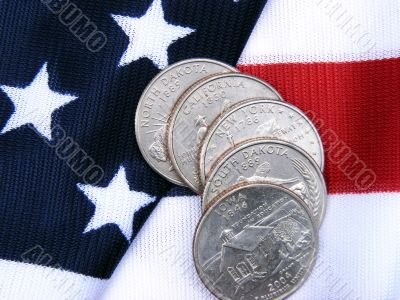 U.S.A. State quarters with flag