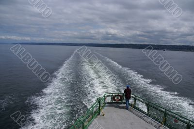 Aft section of ferry & wake