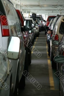Lines of cars on lower deck