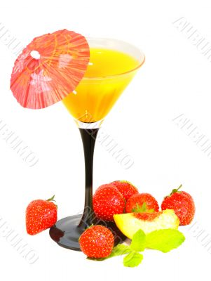 cocktail and strawberry and slice of peach