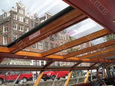 The boat on the canal Amsterdam