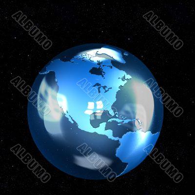 Blue Glass Earth Globe on Stars
