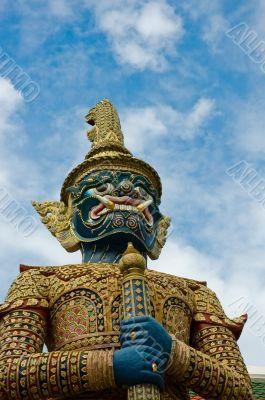 Mythical giant guardian (yak) at Wat Phra Kaew, Bangkok