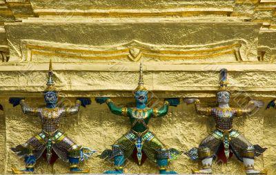 Statues of demons at Wat Phra Kaew, Bangkok
