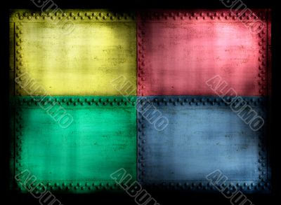4 color riveted grunge background