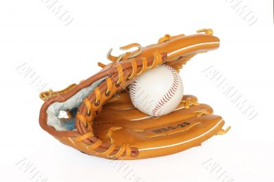Baseball catcher mitt with ball isolated on white background