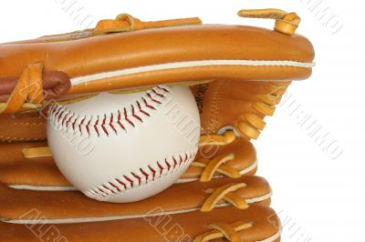 Baseball catcher mitt with ball isolated on white background clo