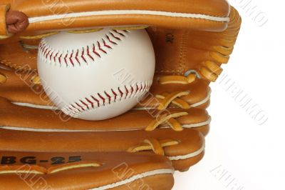 Baseball catcher mitt with ball isolated on white