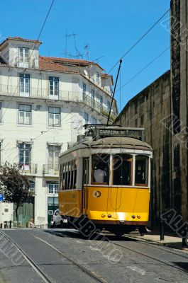 traditional yellow lisbon tram