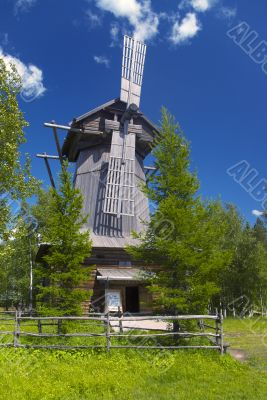 wooden wind mill  in Malye Karely