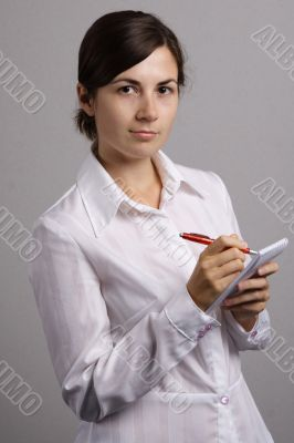 office girl in a white shirt