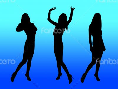 Party women silhouettes,blue night club lights