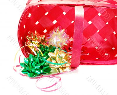 Festive ribbons  bows and red basket