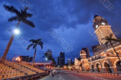Kuala lumpur courthouse at dusk