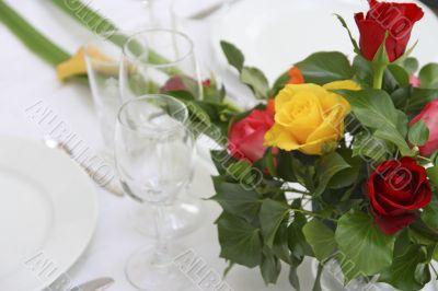 flower decoration on dinner table