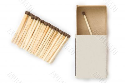 Heap of matches on a white background