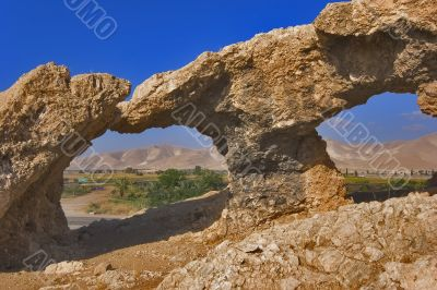 Natural arches in ancient mountains.