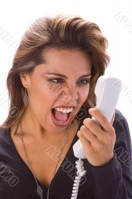 Latin girl with phone yelling
