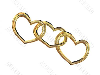 Heart gold costume jewellery