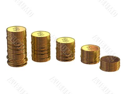 gold coins with stamping dollar