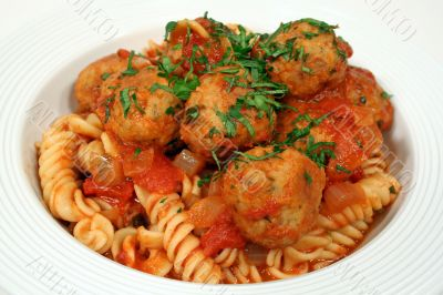 Pasta With Chicken Meat Balls