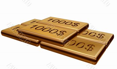 Gold with stamping dollar