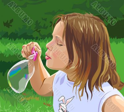 Small girl with bubble
