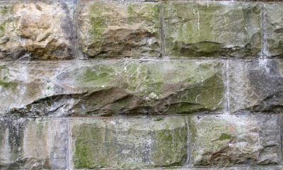 Stone Block Wall with Water Damage