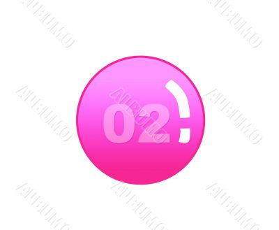 Red aqua button with number two