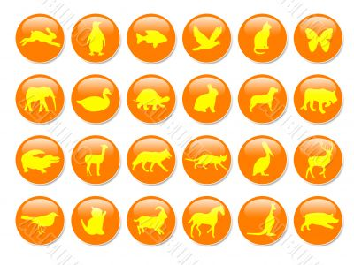 Orange icons with yellow animal shapes,vector,pet