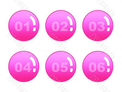 Six red numbered buttons,vector,icons