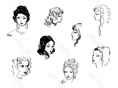Beautiful women`s heads