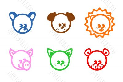 Six colored icons with animals
