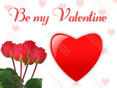 Valentines wallpaper with red roses and heart
