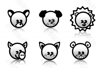 Six animal icons,pets,toy