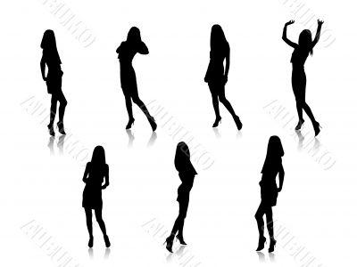 Sensual girls shapes, vector,images