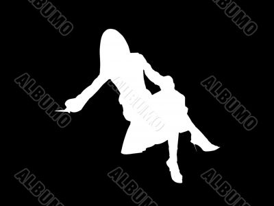 White woman silhouette and black background